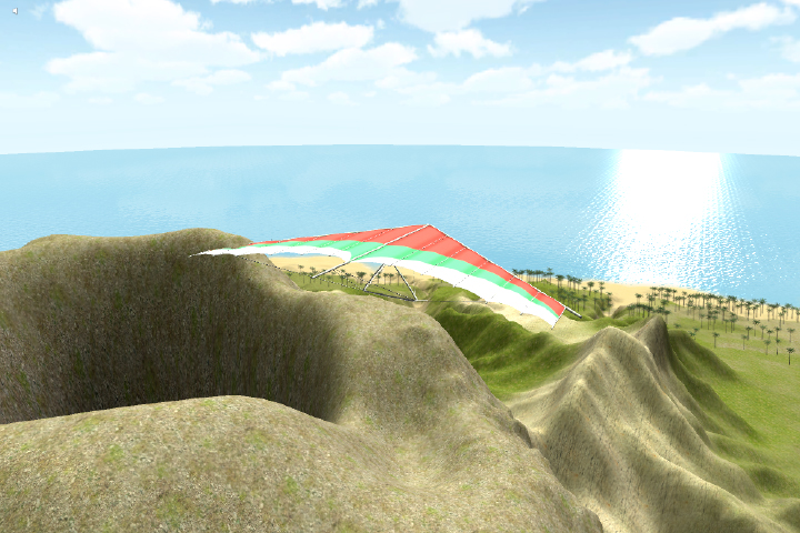The user's hang glider on top of a volcano.