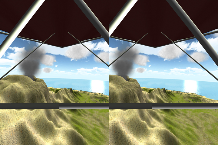 The user's view through the HMD. Each eye only sees one image, and the images are offset appropriately so the brain interprets the scene as 3D.